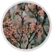 Whispering Cherry Blossoms Round Beach Towel by Janice MacLellan