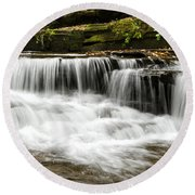 Whispering Waterfall Landscape Round Beach Towel