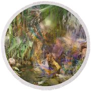 Whispering Waters - Square Version Round Beach Towel