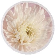 Whispering White Floral Round Beach Towel