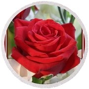 Whispers Of Passion And Love Red Rose Greeting Card  Round Beach Towel