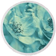 Whispers Of Teal Roses Round Beach Towel