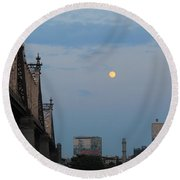Whispy Clouds And A Moon Round Beach Towel