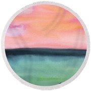 Whispy Pink/organge Sky Round Beach Towel