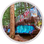 Whistler Train Wreck Box Car Graffiti Round Beach Towel