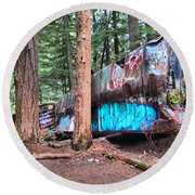 Whistler Train Wreckage Among The Trees Round Beach Towel