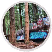 Whistler Train Wreckage In The Trees Round Beach Towel