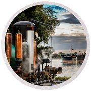 Whistles And Ship Round Beach Towel