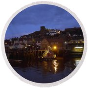 Whitby Lower Harbour And The Rnli Lifeboat Station At Night Round Beach Towel