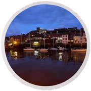 Whitby Lower Harbour At Night Round Beach Towel