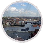 Whitby Rooftops Round Beach Towel