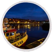 Whitby Upper Harbour At Night Round Beach Towel