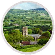 Whitchurch Canonicorum Overview  Round Beach Towel