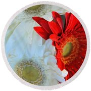 White And Red Flowers Round Beach Towel