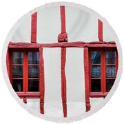 White And Red Half-timbered House Detail Round Beach Towel