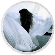 White Angel Round Beach Towel