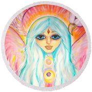 White Angel Round Beach Towel