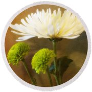 White Autumn Round Beach Towel