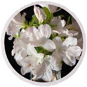 White Azalea Bouquet In Glass Vase Round Beach Towel