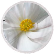 White Begonia Floral Round Beach Towel