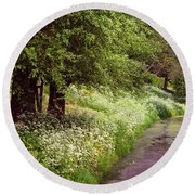 White Bloom Along The Dutch Canal. Netherlands Round Beach Towel