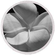 White Bloom B W Round Beach Towel