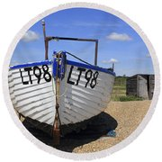 White Boat Round Beach Towel
