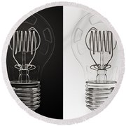 White Bulb Black Bulb Round Beach Towel
