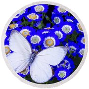 White Butterfly In Blue Flowers Round Beach Towel