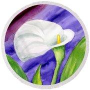 White Calla Lily Purple Mood Round Beach Towel
