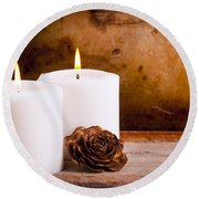 White Candles With Rose Round Beach Towel