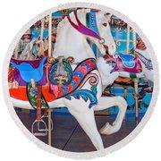 White Carousel Horse Round Beach Towel