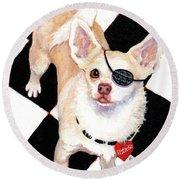 White Chihuahua - Pistachio Round Beach Towel