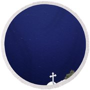 White Church Round Beach Towel