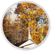 White Church In Autumn Round Beach Towel