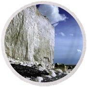 White Cliffs At Birling Gap Round Beach Towel