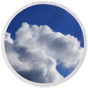 White Clouds Art Prints Blue Sky Round Beach Towel