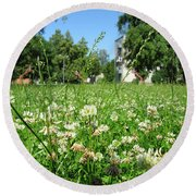White Clover Field And The Playground Round Beach Towel