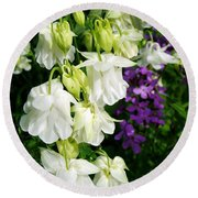 White Columbine With Purple Phlox Round Beach Towel