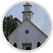 White Country Church Series Photo A Round Beach Towel
