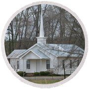 White Country Church Series Photo B Round Beach Towel