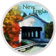 White Covered Bridge  Colorful Autumn New England Round Beach Towel