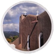 White Crosses At Taos Round Beach Towel