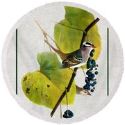 White Crowned Finch Vertical Round Beach Towel