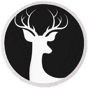 White Deer Silhouette Round Beach Towel