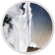 White Dome Geyser Yellowstone Np Round Beach Towel