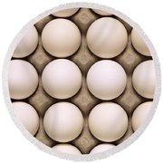 White Eggs In Carton Round Beach Towel