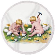 White Eggs Round Beach Towel