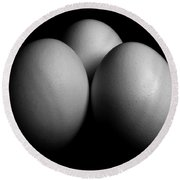 White Eggs On Black Round Beach Towel