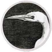 White Egret Art - The Great One - By Sharon Cummings Round Beach Towel